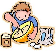 clipart of child stirring cooking ingredients