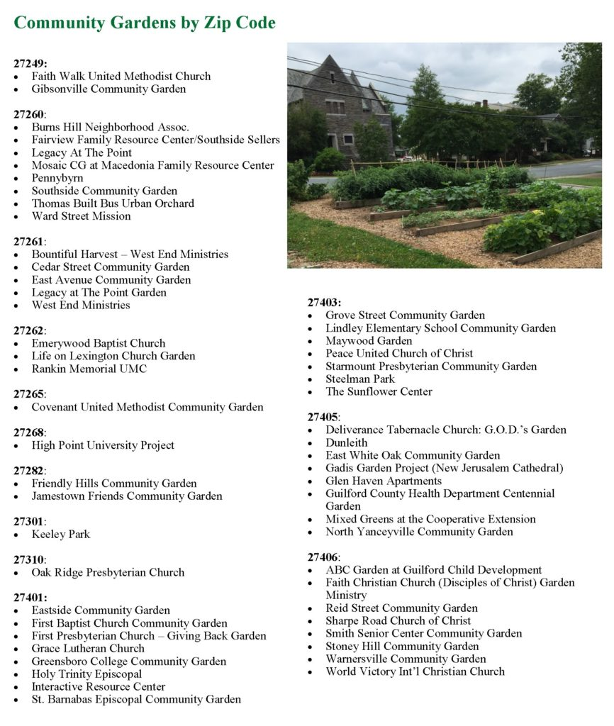 New Community Gardens Are Forming All The Time. Contact North Carolina  Cooperative Extension, Guilford County Center At (336) 641 2400 Or Visit  The Local ...