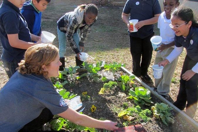 Image of kids gardening