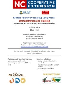 Cover photo for Mobile Poultry Processing Demo | June 21, 2018 10-3pm | Germanton, NC