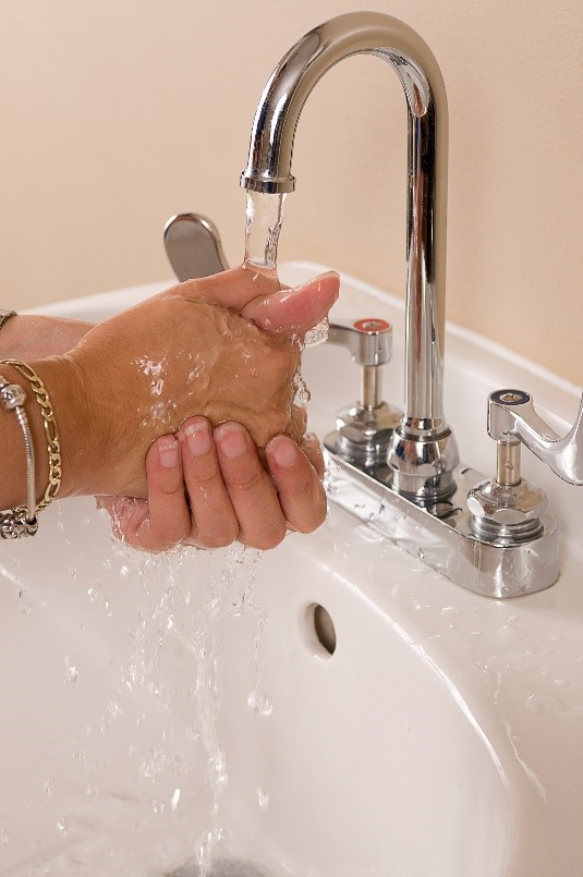 Hands being washed under running water.